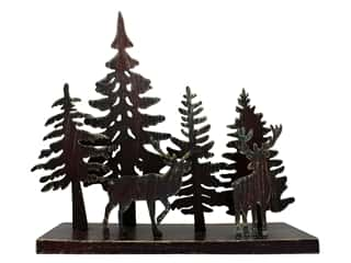 "craft & hobbies: Sierra Pacific Decor Trees & Deer On Stand 12.75""x 11.5""x 4"" Metal"
