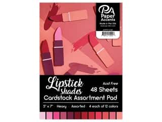 "scrapbooking & paper crafts: Paper Accents Cardstock Pad 5""x 7"" 48pc Lipstick Shades Assortment"