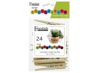 "Essentials By Leisure Arts Wood Clothespins Large Spring 3.38"" 24pc"