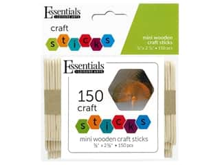 Essentials By Leisure Arts Wood Craft Sticks Mini .38 in. x 2.63 in. 150 pc