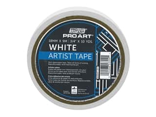 glues, adhesives & tapes: Pro Art Tape Artist .75 in. x 10 yd White