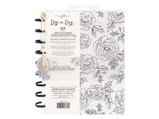 American Crafts Maggie Holmes Day To Day Daily Planner 7.5 in. x 9.5 in. Black & White Floral Gold Foil