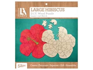 Leisure Arts Wood Puzzle Large Hibiscus