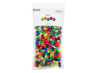 Essentials By Leisure Arts Pony Beads -  6 x 9 mm Neon Mix 750 pc.