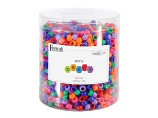 Essentials By Leisure Arts Pony Beads -  6 x 9 mm Bold Mix 1 lb.