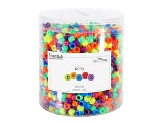 Essentials By Leisure Arts Pony Beads -  6 x 9 mm Neon Mix 1 lb.
