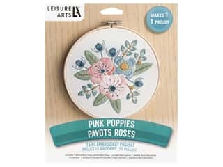 Leisure Arts Kit Mini Maker Embroidery 6 in. Pink Poppies