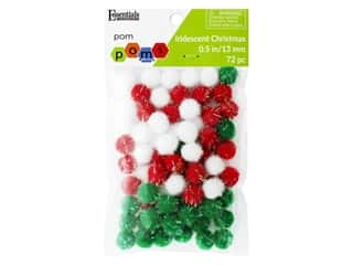 Essentials By Leisure Arts 1/2 in. Pom Poms - Iridescent Christmas 72 pc.