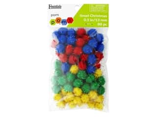 craft eyes pa accents: Essentials By Leisure Arts 1/2 in. Pom Poms - Tinsel Christmas 80 pc.