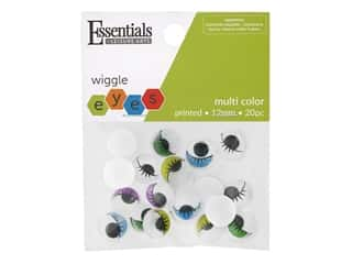 printed eyelashes wiggle eyes: Essentials By Leisure Arts Eye Printed Moveable 12 mm Multi 20 pc