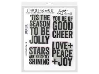 Stampers Anonymous Cling Mount Stamp Tim Holtz 7 in. x 8.5 in. Bold Tidings #1