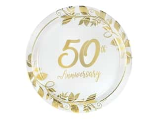 """Amscan Collection Anniversary Plate 7"""" Round 50th 8pc Paper"""