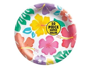 """Amscan Collection Summer Hibiscus Plate 8.5"""" Round Value Pack 50pc Paper"""
