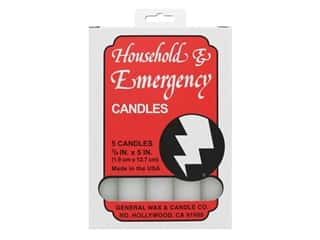 General Wax Household and Emergency Candle .75 in. x 5 in. White 5 pc