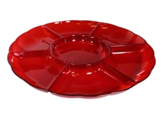 """Amscan Tableware Compartment Tray 16"""" Chip And Dip Red"""