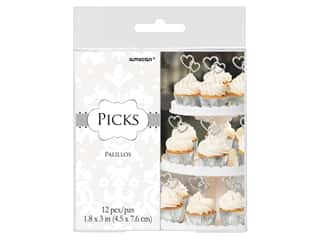 Amscan Collection Bridal Pick Double Heart 12 pc