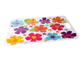 Amscan Collection Summer Luau Tray With Handle Hibiscus White Melamine