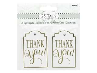 Amscan Tags 3 in. x 2 in. Thank You White 25 pc