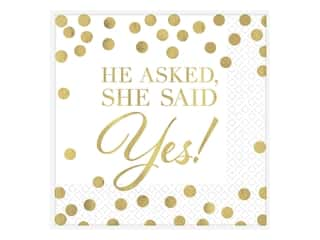 Amscan Collection Premium Wedding Napkin Beverage He Asked She Said Yes 16pc