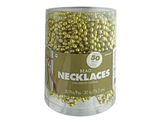 """Amscan Necklace 30"""" Bead 50pc Gold"""