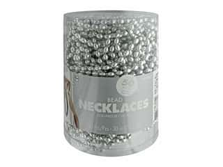 """Amscan Necklace 30"""" Bead 50pc Silver"""
