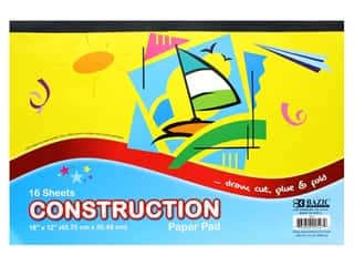 Bazic Basics Construction Paper Pad 18 in. x 12 in. 16 ct