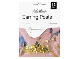 John Bead Findings Must Have Findings Earring Post With 5 mm Ball Gold 12 pc