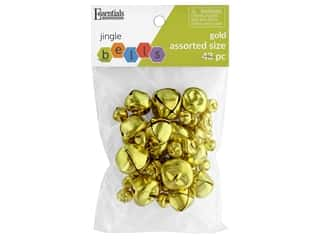 craft & hobbies: Essentials By Leisure Arts Bell Jingle Assorted Sizes Gold 43 pc