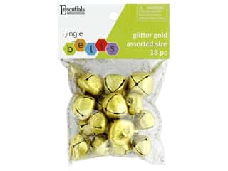 Essentials By Leisure Arts Bell Jingle Glitter Assorted Sizes Gold 18 pc