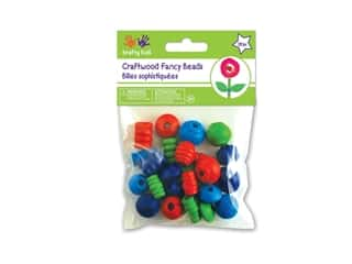 Craft Medley Wood Bead Fancy Assorted Colored 28 pc.