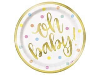 Unique Collection Oh Baby Foil 7 in. Plates 8 pc