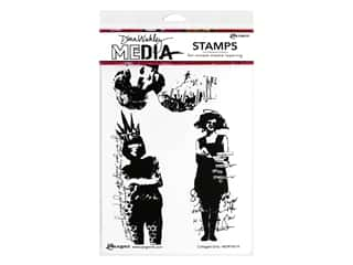Ranger Dina Wakley Cling Stamps 6 in. X 9 in. Collaged Girls