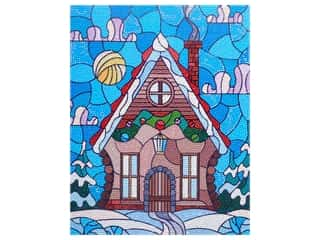 Diamond Art Kit 11 in. x 14 in. Intermediate Stained Glass Gingerbread House