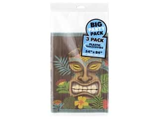 Amscan Collection Summer Luau Tablecover 54 in. x 84 in. Vintage Tiki 3 pc