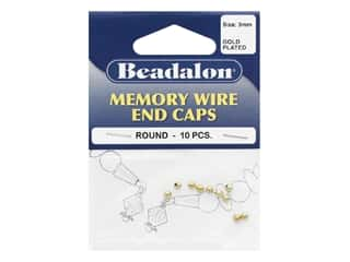 beading & jewelry making supplies: Beadalon Memory Wire End Caps 3 mm (.12 in.) Round 10 pc. Gold Color