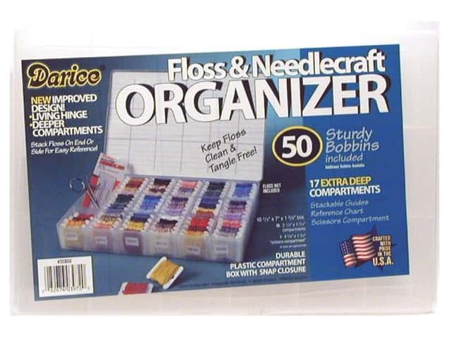 Darice Organizer 17 Hole Floss & Needlecraft with 50 Cardboard Bobbins