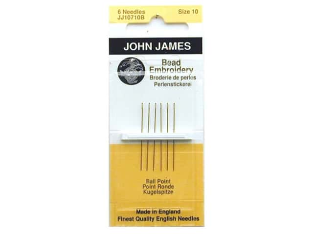 John James Ball Point Bead Embroidery Needles Size 10 6 pc.