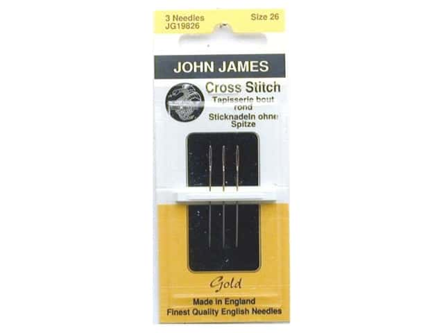 John James Gold Plated Cross Stitch Needles Size 26 3 pc.