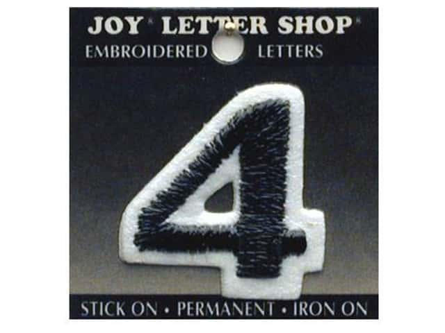 "Joy Lettershop Iron-On Number ""4"" Embroidered 1 1/2 in. Black"