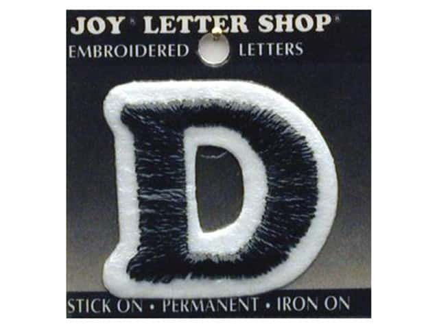 "Joy Lettershop Iron-On Letter ""D"" Embroidered 1 1/2 in. Black"