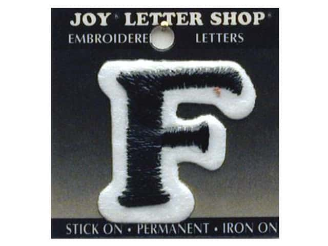 "Joy Lettershop Iron-On Letter ""F"" Embroidered 1 1/2 in. Black"