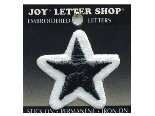 Joy Lettershop Iron-On Star Embroidered 1 1/2 in. Black