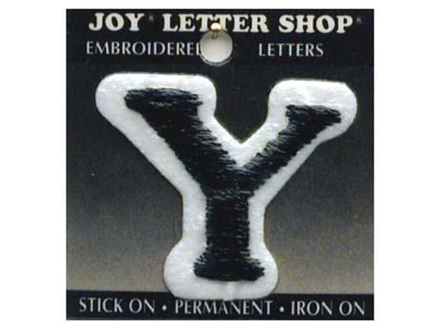 "Joy Lettershop Iron-On Letter ""Y"" Embroidered 1 1/2 in. Black"