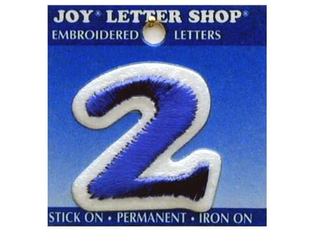 "Joy Lettershop Iron-On Number ""2"" Embroidered 1 1/2 in. Blue"