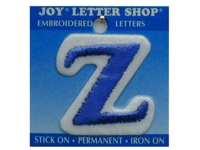 """Joy Lettershop Iron-On Letter """"Z"""" Embroidered 1 1/2 in. Blue"""