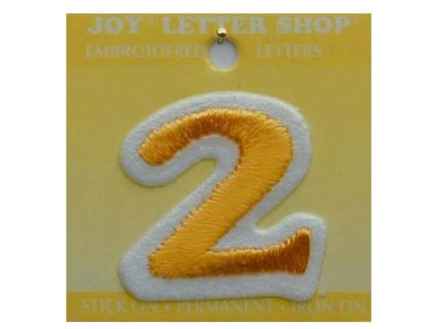 "Joy Lettershop Iron-On Number ""2"" Embroidered 1 1/2 in. Gold"