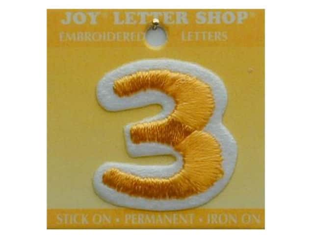 """Joy Lettershop Iron-On Number """"3"""" Embroidered 1 1/2 in. Gold"""