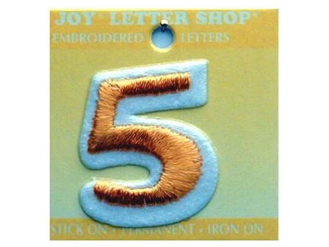"Joy Lettershop Iron-On Number ""5"" Embroidered 1 1/2 in. Gold"