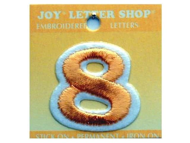 "Joy Lettershop Iron-On Number ""8"" Embroidered 1 1/2 in. Gold"