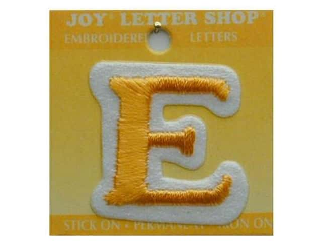 "Joy Lettershop Iron-On Letter ""E"" Embroidered 1 1/2 in. Gold"
